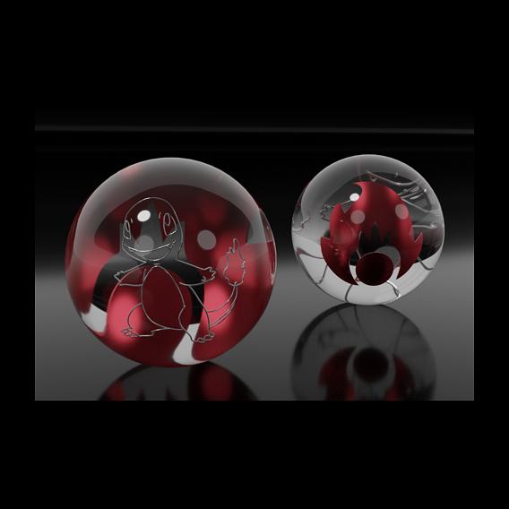 Charmander glass marble