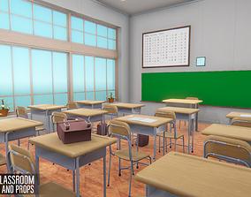 3D asset Japan classroom - interior and props