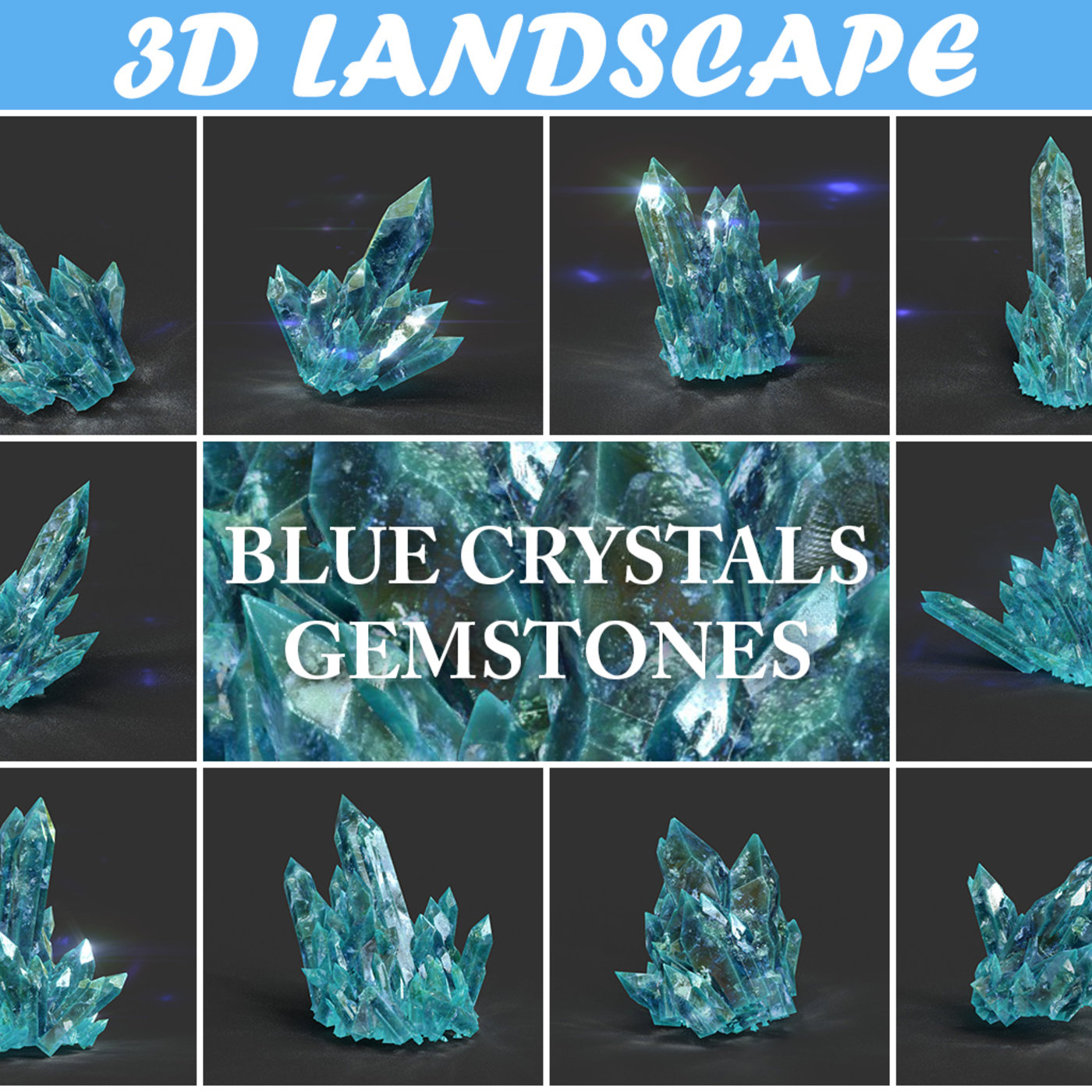 New low poly Crystal Gemstone Pack Collection