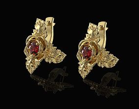 Rose with leaves earrings 3D printable model
