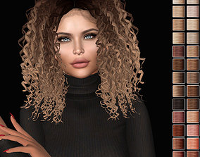 Female hair style rigged 3D rigged game-ready 1
