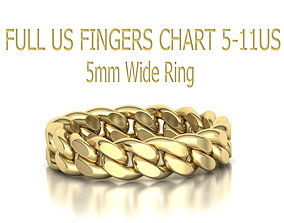 Cuban Link Chain Ring 5mm Wide ALL 3D printable model 2