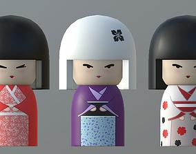 3D model realtime Kokeshi Japanese doll2