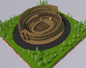 Low Poly Colosseum Rome Italy Landmark 3D asset