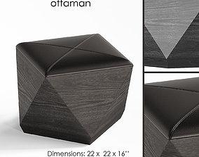 3D hex black leather storage ottaman