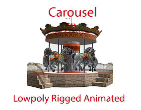 Spinning carousel with horses up and down 3D asset