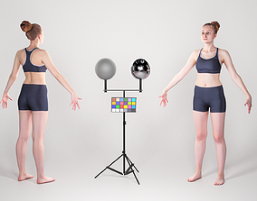 3D asset Sporty woman ready for animation 118