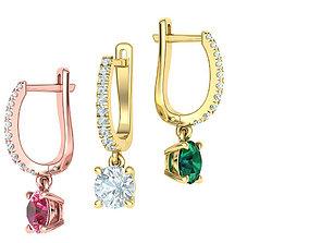 Diamond Huggie Earrings with 6mm stone 3dmodel