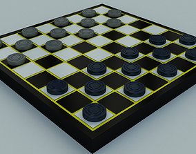 VR / AR ready Checkers 3d Model Board Game