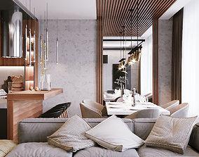 3D Modern Apartment Interior Scene and Corona