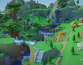 Low Poly Forest Scene with Tree Houses 3D asset