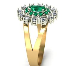 Rings with emeralds and diamonds 3D print model