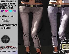 Female Rolled cuff capri jeans 3D model