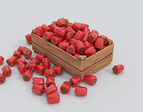 Wooden crate and red peppers 3D asset