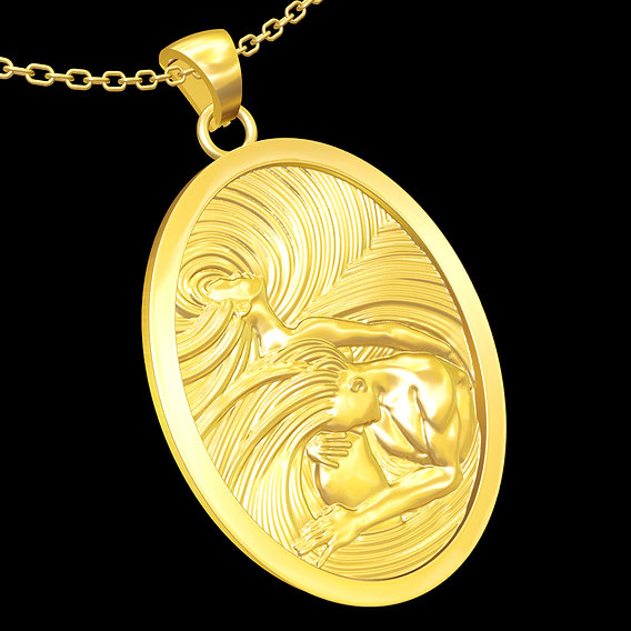 He and She pendant jewelry gold necklace medallion 3D print model