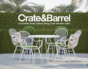 3D Scroll White Metal Outdoor Dining Chair with Bistro