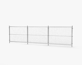 security Chain Link Fence 3D