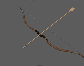 Bow and arrow 3D asset low-poly