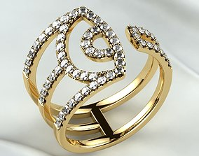 Fashion Open Gold Ring 3D printable model