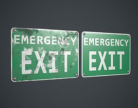 3D asset Plastic Exit Sign 3 PBR Game Ready