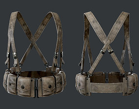 WW2 Military Gear Equipment Pouches Game Ready 01 3D asset