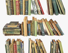 3D model stacked old books on a shelf set 9