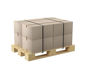 Pallet with cardboard boxes 3D model low-poly