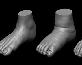4 different feet with high poly 3D model ankle
