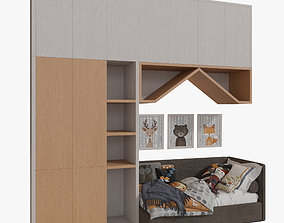 3D brown Wardrobe For Children 02