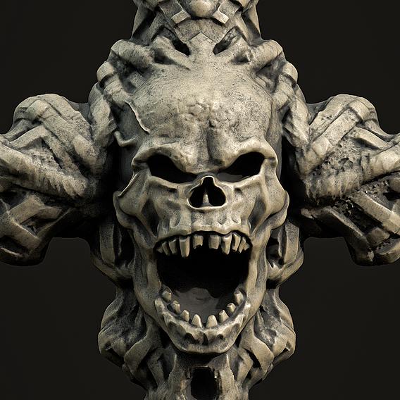 Skull cross Pendant 3d print model 14