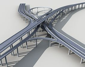 Highway Viaduct flyover 3D model-2 building