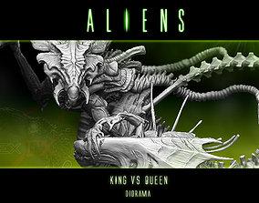 3D King alien vs Queen Diorama statue