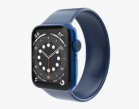 Apple Watch Series 6 silicone solo loop blue 3D