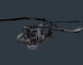 Wrecked Damaged UH1H Military Helicopter Game 3D asset