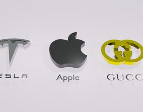 3D model logo Tesla Apple Gucci