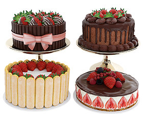 Strawberry cake collection 3D model