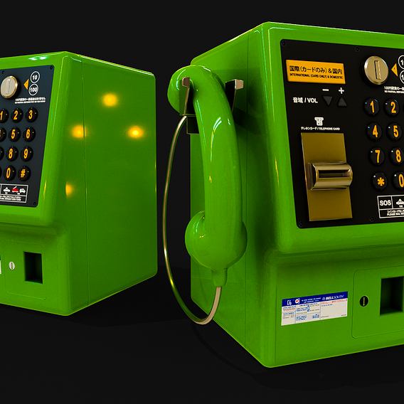 Japanese Payphone Game Ready VR / AR / low-poly 3d model