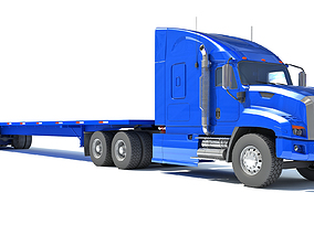 Truck with Flatbed Trailer 3D