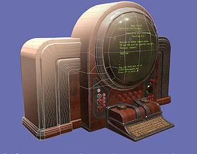 3D asset Vintage retro futuristic computer low poly