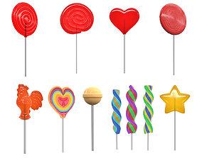 3D Colorful lollipops on sticks