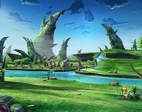 3D model Cartoon Stone Forest Scene