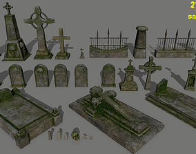 tombstone set 3D asset low-poly skeleton