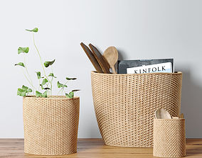3D Decorative set with baskets and spoons