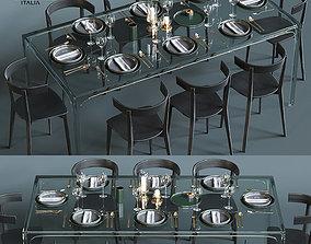 Glas Italia table set 3D
