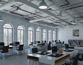 Loft office interior 2 furniture 3D model