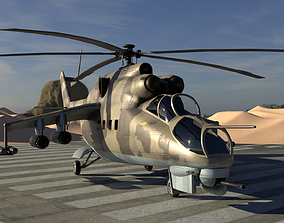 Mil Mi-24 Hind Attack Helicopter 3D model