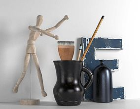 Wooden Mannequin Brushes in Pitcher and Bottle 3D