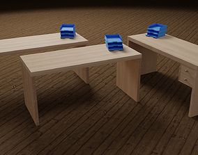 office 3D Office Desk set wooden material