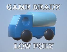 Wooden Toy Truck low poly game ready 3D model