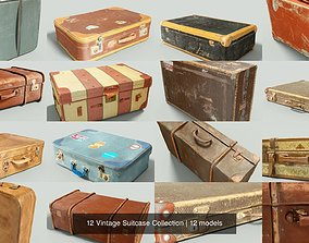 3D model 12 Vintage Suitcase Collection